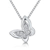 Sterling Silver Butterfly With A Six Stone Centre Of Cubic Zirconia Round Cut Stonespendant - JOOLS By Jenny Brown