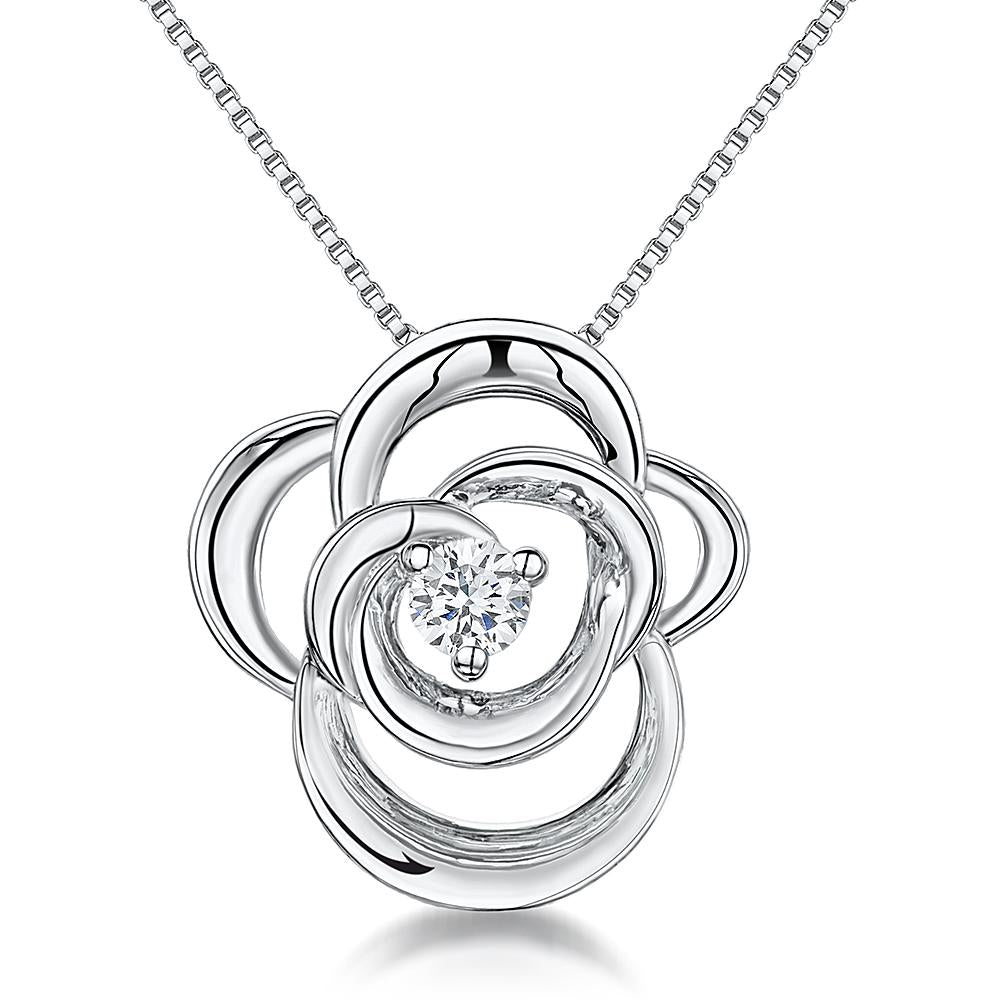 Sterling Silver Open Twisted Flower Set With A Cubic Zirconia Centrependants - JOOLS By Jenny Brown