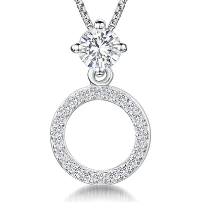Sterling-Silver-Stone-Set-Circle-Necklace-with-A-Half-Carat-Brillaint-Round-Cubic-Zirconia-Stone-Set-Bale