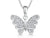 Sterling Silver Butterfly In Flight Necklace Set With Cubic Zirconia Stones