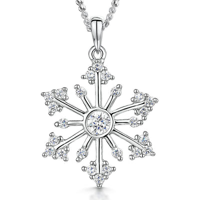 Sterling Silver  & Cubic Zirconia Snowflake Necklace With A Single Round Stone CentrePendants - JOOLS By Jenny Brown