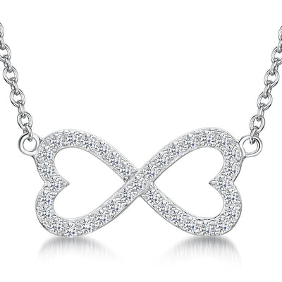 Sterling Silver  & Cubic Zirconia Infinity Open Heart  NecklacePendants - JOOLS By Jenny Brown