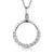 Sterling Silver Polished Circle Pendantt with A Lower Section Of White Zirconia Stones