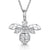 Sterling Silver Bee Necklace Set With White Cubic Zirconia Stones