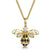 Sterling Silver Bee Necklace Yellow Gold Plated Set With Black and White Cubic Zirconia Stones