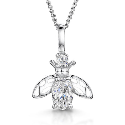 Sterling Silver Bee Necklace Set With An Oval  Cubic Zirconia BodyNecklaces - JOOLS By Jenny Brown