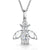 Sterling Silver Bee Necklace Set With An Oval  Cubic Zirconia Body