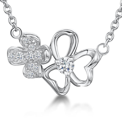 Sterling Silver Double Flower With  Plain and Stone Encrusted Petals On A Fixed Chainpendants - JOOLS By Jenny Brown