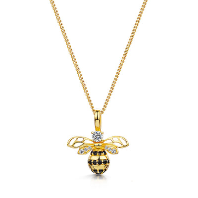 Yellow Gold Large Bumble Bee Necklace Set With Black and White Cubic Zirconia Stones