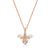 Rose Gold  Large  Bumble Bee Necklace Set With White Cubic Zirconia Stones