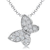 Sterling Silver Small Butterfly Necklace Pave Set With Cubic Zirconia Stonespendant - JOOLS By Jenny Brown