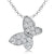 Sterling Silver Small Butterfly Necklace Pave Set With Cubic Zirconia Stones