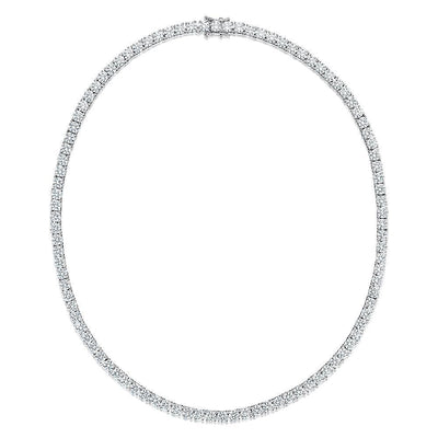 Sterling Silver Tennis Necklace Single Row With Quarter Carat Cubic Zirconia StonesNecklace - JOOLS By Jenny Brown
