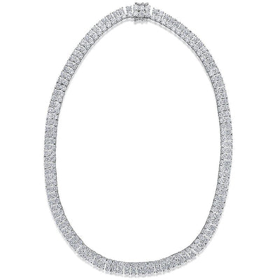 Sterling Silver Tennis  Necklace  Double Row Hinged With Quarter Carat Cubic Zirconia StonesNecklace - JOOLS By Jenny Brown