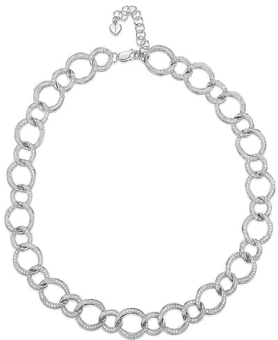 Sterling Silver Full Link Necklace Set With  Cubic Zirconia StonesPendants - JOOLS By Jenny Brown