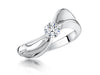 Sterling Silver Solitaire Band Ring with A Half Carat Cubic Zirconia StoneRings - JOOLS By Jenny Brown