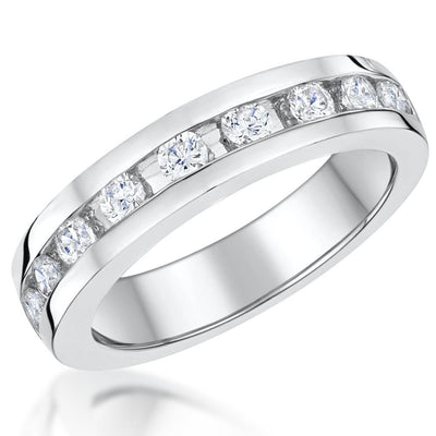 Sterling Silver Half Eternity Ring Band Channel Set With Cubic Zirconia StonesRings - JOOLS By Jenny Brown