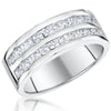 Sterling Silver Band Ring  Set With Two Rows Of  Cubic Zirconia StonesRings - JOOLS By Jenny Brown