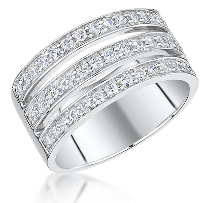 Sterling Silver Triple Band Pave Set  Ring Set With Cubic Zirconia StonesRings - JOOLS By Jenny Brown