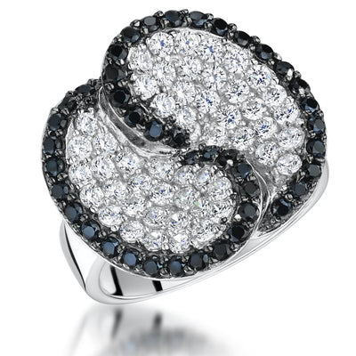 Sterling Silver Pave Set Ring With Black and White ZirconiasRings - JOOLS By Jenny Brown
