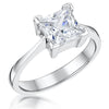 STERLING SILVER  TWO CARAT PRINCESS CUT SQUARE SOLITAIRE RING