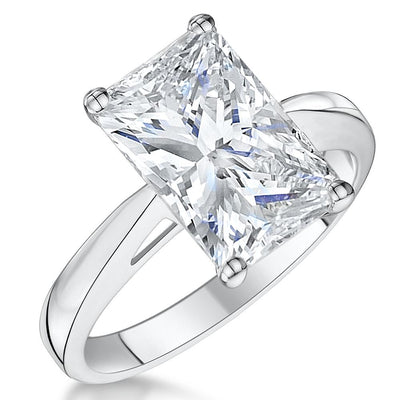 Sterling Silver Princess Cut  Solitaire Ring Set With a 3.87 Carat Cubic Zirconia StoneRings - JOOLS By Jenny Brown