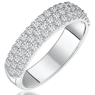 Sterling Silver Ring  Half Pave Set Band With Cubic Zirconia StonesRings - JOOLS By Jenny Brown