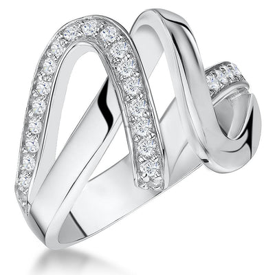 Sterling Silver Double Twist Ring Set With Two Rows Of Cubic Zirconia StonesRings - JOOLS By Jenny Brown