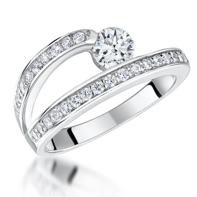 Sterling Silver Open Band Ring  Set  With  Half Carat Cubic Zirconia StoneRings - JOOLS By Jenny Brown