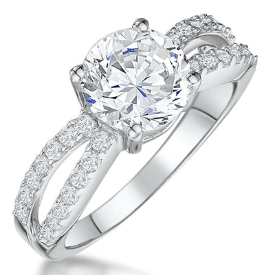 STERLING SILVER TWO CARAT BRILLIANT CUT SOLITAIRE  CUBIC ZIRCONIA RINGRings - JOOLS By Jenny Brown