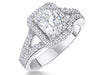 Sterling Silver and Princess Cut  Cubic Zirconia Halo RingRings - JOOLS By Jenny Brown