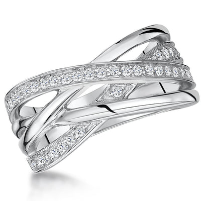 Sterling Silver  Crossover Band Ring  Set With Two Rows Of  Cubic Zirconia StonesRings - JOOLS By Jenny Brown