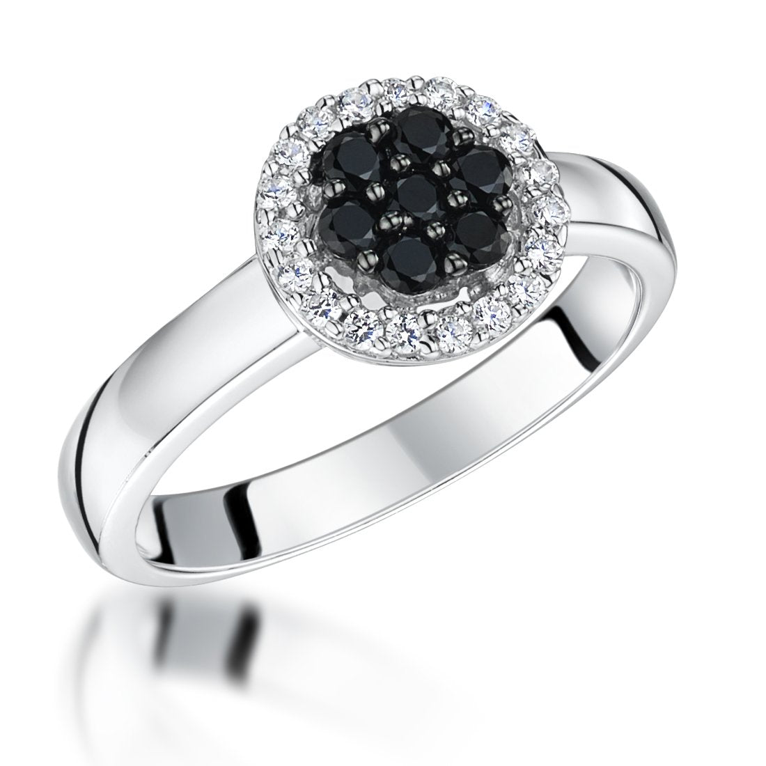 Sterling Silver Halo Ring Pave Set with Black and White Cubic Zirconia StonesRings - JOOLS By Jenny Brown