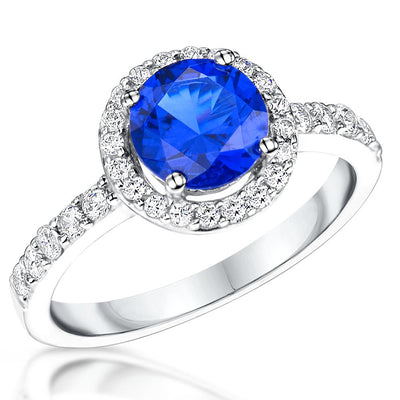 Sterling Silver Halo Ring Set With a 1 .3 Carat Round Cubic Zirconia Stone . Sapphire Blue  Amethyst Blue Topaz Zirconia StonesRings - JOOLS By Jenny Brown