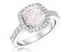 Sterling Silver And 3 Carat Cushion Cut Light Pink  Zirconia RingRings - JOOLS By Jenny Brown