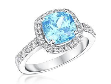 Sterling Silver And 3 Carat Halo Cushion Cut Ocean Blue Zirconia RingRings - JOOLS By Jenny Brown