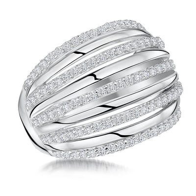 Sterling Silver Five Open Band Ring  Set With Cubic Zirconia StonesRings - JOOLS By Jenny Brown