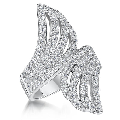 Sterling Silver Ring Featuring Back to Back Wings Pave Set With Cubic Zirconia StonesRings - JOOLS By Jenny Brown