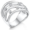 Sterling Silver Open Strand  Ring Set With Eight Cubic Zirconia StonesRings - JOOLS By Jenny Brown