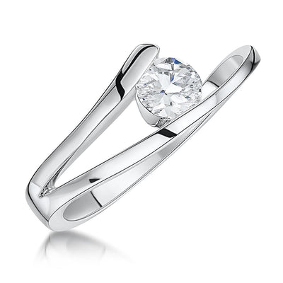 Sterling Silver Solitaire Tension Set  Ring Set With a Half Carat  Cubic Zirconia StoneRings - JOOLS By Jenny Brown