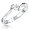 Sterling Silver Solitaire Ring Set With Round Brilliant  Quarter Carat   Cubic Zirconia StoneRings - JOOLS By Jenny Brown