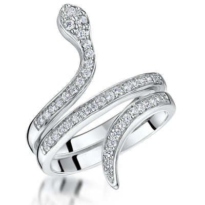 Sterling Silver Snake  Ring Set With Cubic Zirconia StonesRings - JOOLS By Jenny Brown