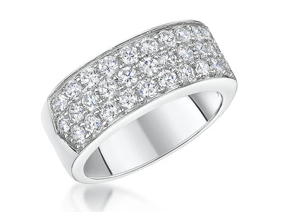 Sterling Silver Band  Ring Pave Set Half Band with Cubic Zirconia StonesRings - JOOLS By Jenny Brown