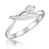 Sterling Silver Solitaire Ring In A Cross Over Setting With A Single Cubic Zirconia StoneRings - JOOLS By Jenny Brown
