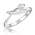 Sterling Silver Solitaire Ring In A Cross Over Setting With A Single Cubic Zirconia Stone
