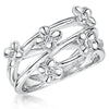 Sterling Silver Flower  Ring  With Four Strands Set With Cubic Zirconia CentresRings - JOOLS By Jenny Brown