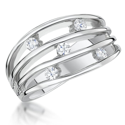 Sterling Silver Band Ring Set With Five Cubic Zirconia StonesRings - JOOLS By Jenny Brown