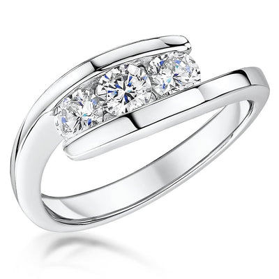 Sterling Silver Ring  Band Set With Three Round  Quarter Carat Brilliant Cubic Zirconia StonesRings - JOOLS By Jenny Brown