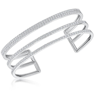 Sterling Silver Triple Strand Cuff Bangle Set With Cubic Zirconia StonesBracelets - JOOLS By Jenny Brown