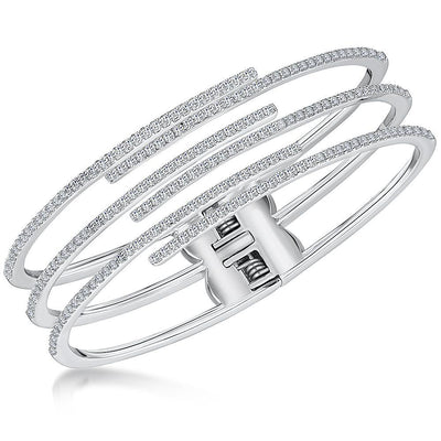 Sterling Silver Triple Strand Overlapping Cuff Bangle Set With Cubic Zirconia StonesBracelets - JOOLS By Jenny Brown